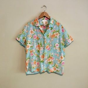 Jones New York Linen Hawaiian Shirt L